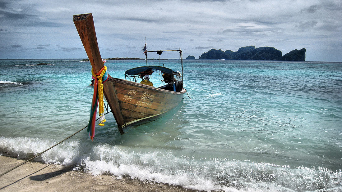 Longtail boat on Phi Phi