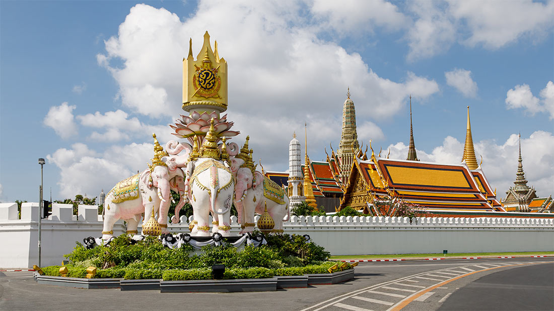 Bangkok. Pink Elephant Statue